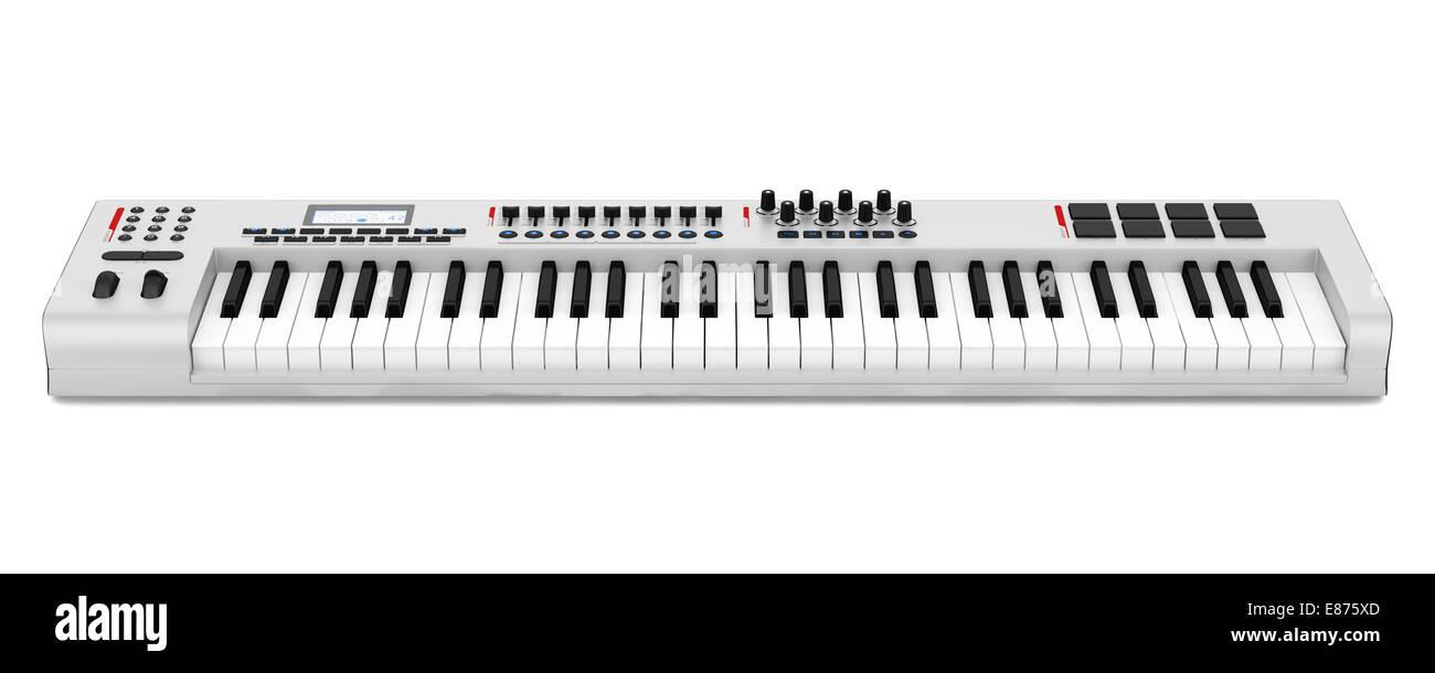 gray synthesizer isolated on white background - Stock Image