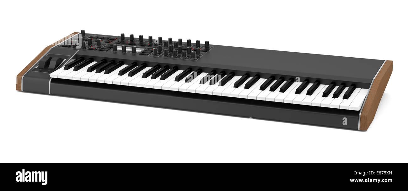 black synthesizer isolated on white background - Stock Image