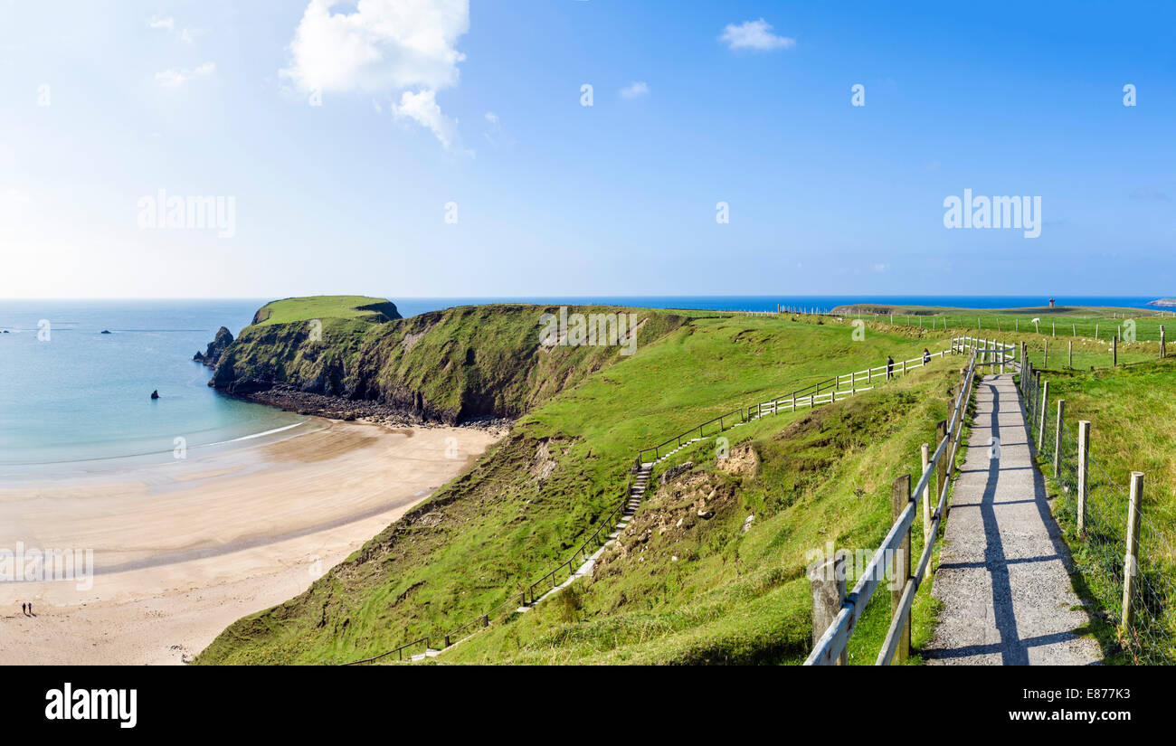 Path and steps down to Silver Strand Beach at Malinbeg, Southwest County Donegal, Republic of Ireland - Stock Image