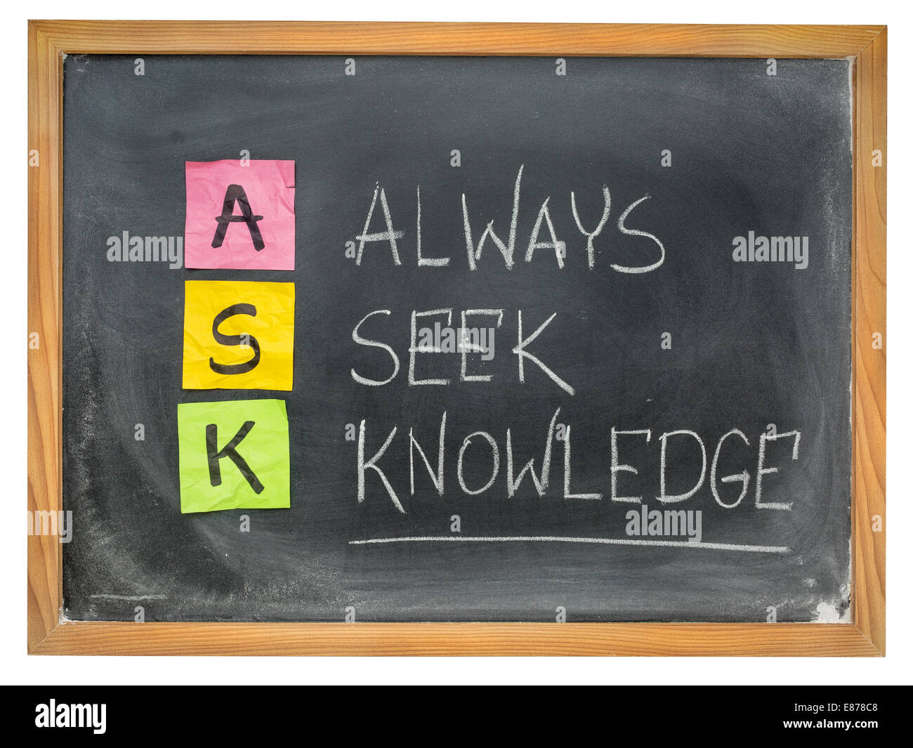 ASK acronym - always seek knowledge - sticky notes and chalk writing on a blackboard - Stock Image
