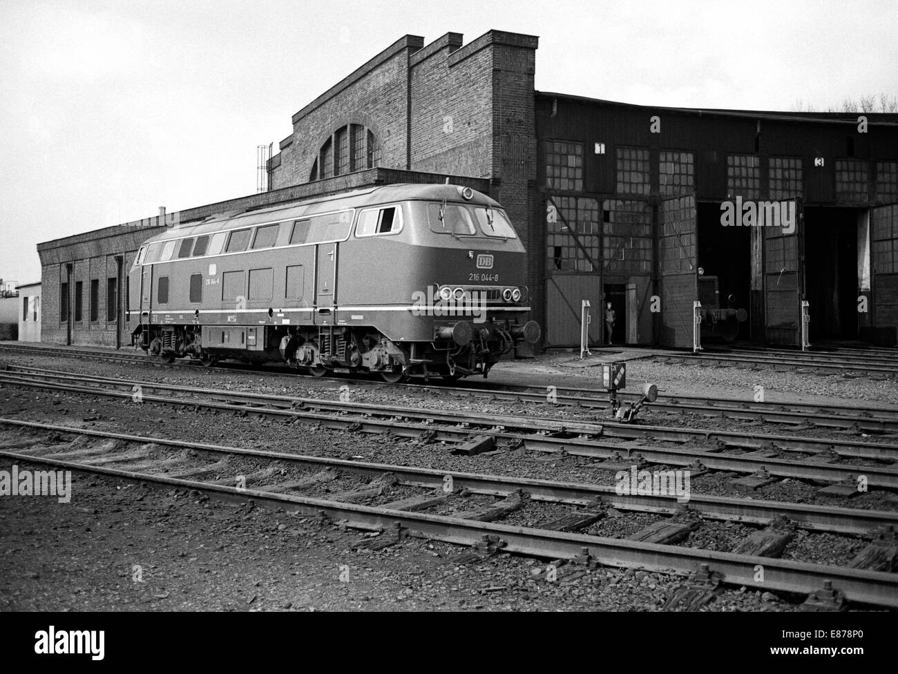 Gelsenkirchen, Germany, Diesel locomotive class 150 in front of the roundhouse of the BW Gelsenkirchen Stock Photo