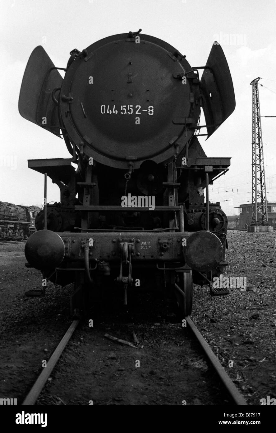 Gelsenkirchen, Germany, steam locomotives parked in BW Gelsenkirchen-Bismark - Stock Image