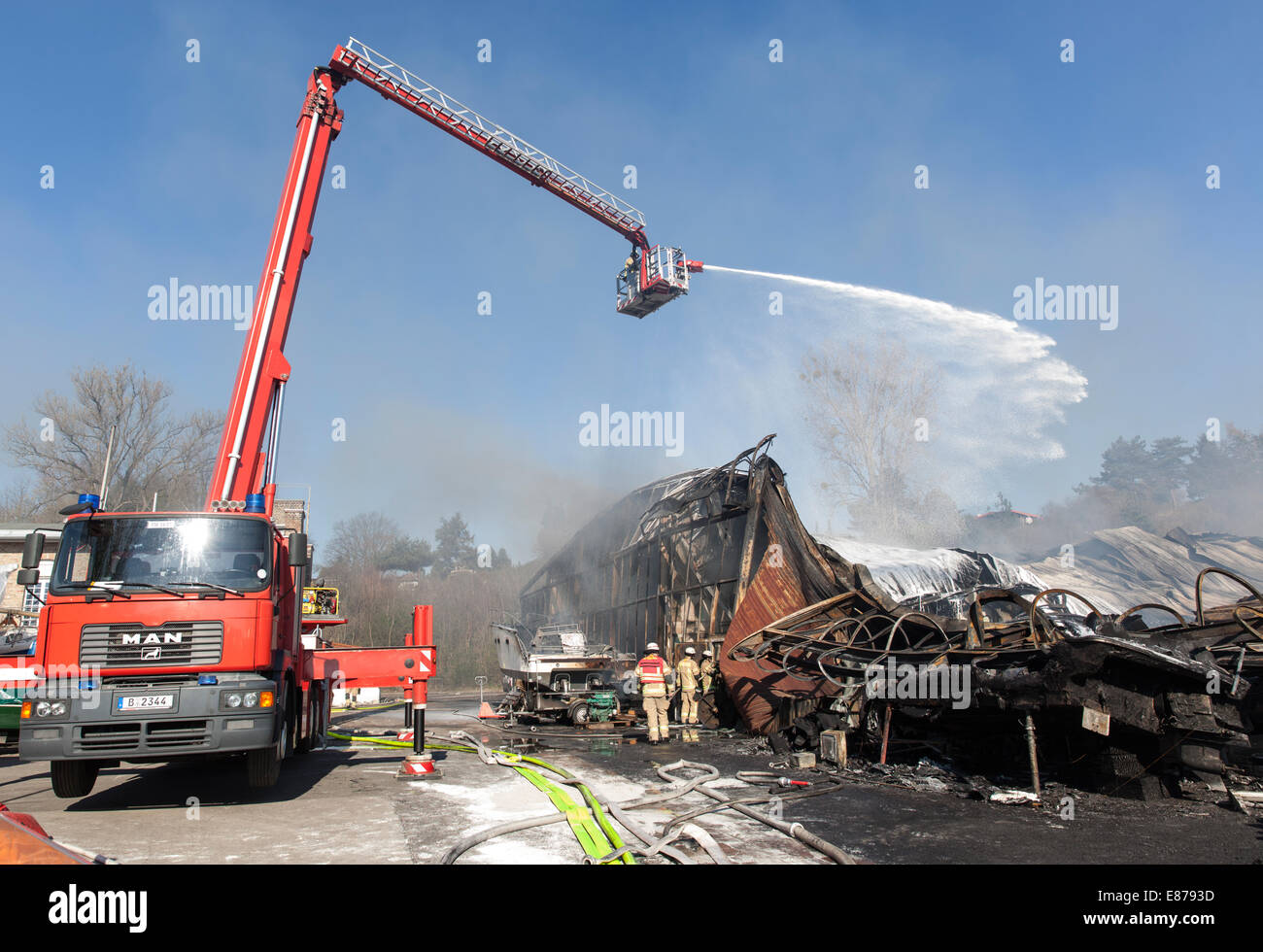 Berlin, Germany, firefighters clears with the fire department telescopic mast Stock Photo
