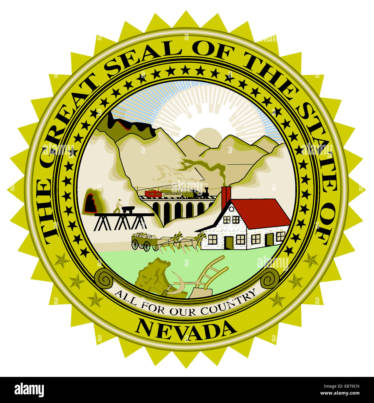 The great seal of Nevada over a white background - Stock Image