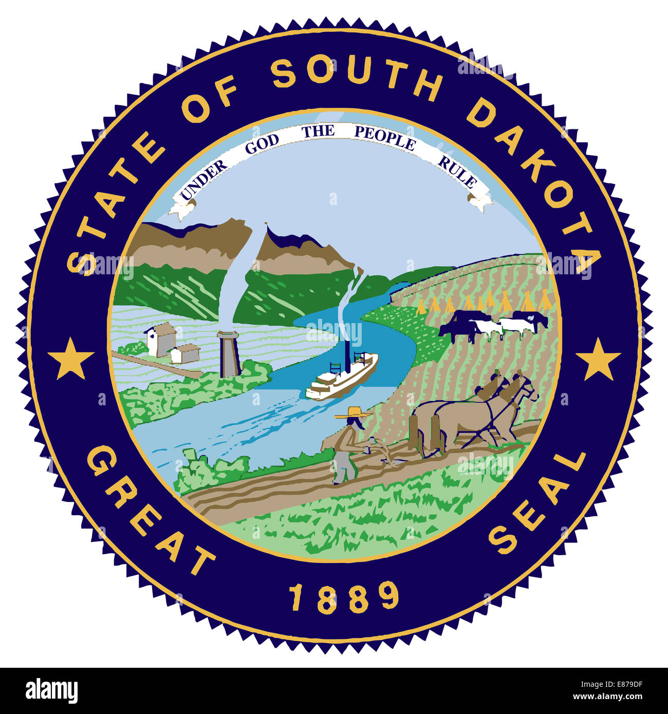 The great seal of the American state of South Dakota - Stock Image