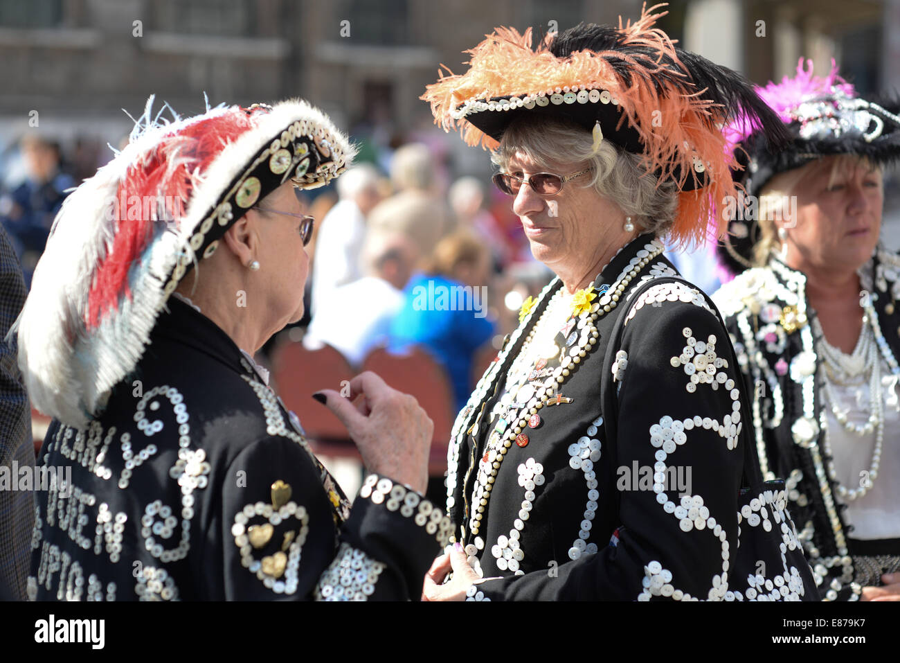 Pearly Kings and Queens at the annual Harvest Festival, City of London, UK - Stock Image