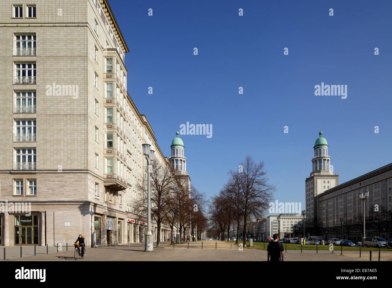 Berlin, Germany, residential buildings and the two towers in the style of Socialist Classicism - Stock Image