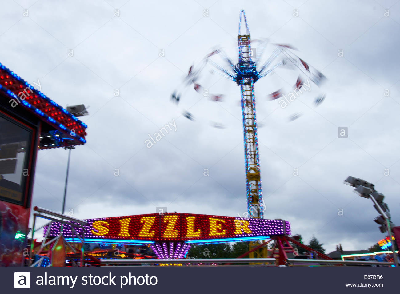 Nottingham, UK, 1 October 2014  Start of Goose Fair on The Forest, Nottingham, UK. It will run from 1st to 5th October - Stock Image