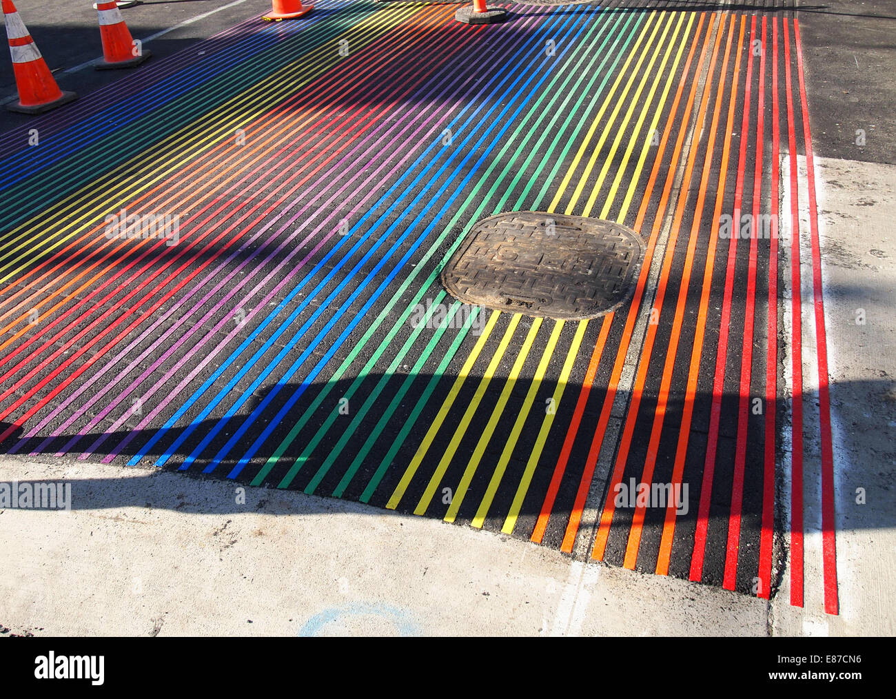 installation of new Rainbow pedestrian crosswalk, Castro Street - Stock Image