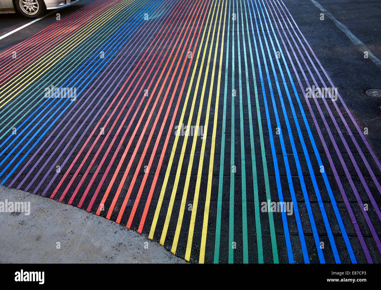 new Rainbow pedestrian crosswalk, Castro Street - Stock Image