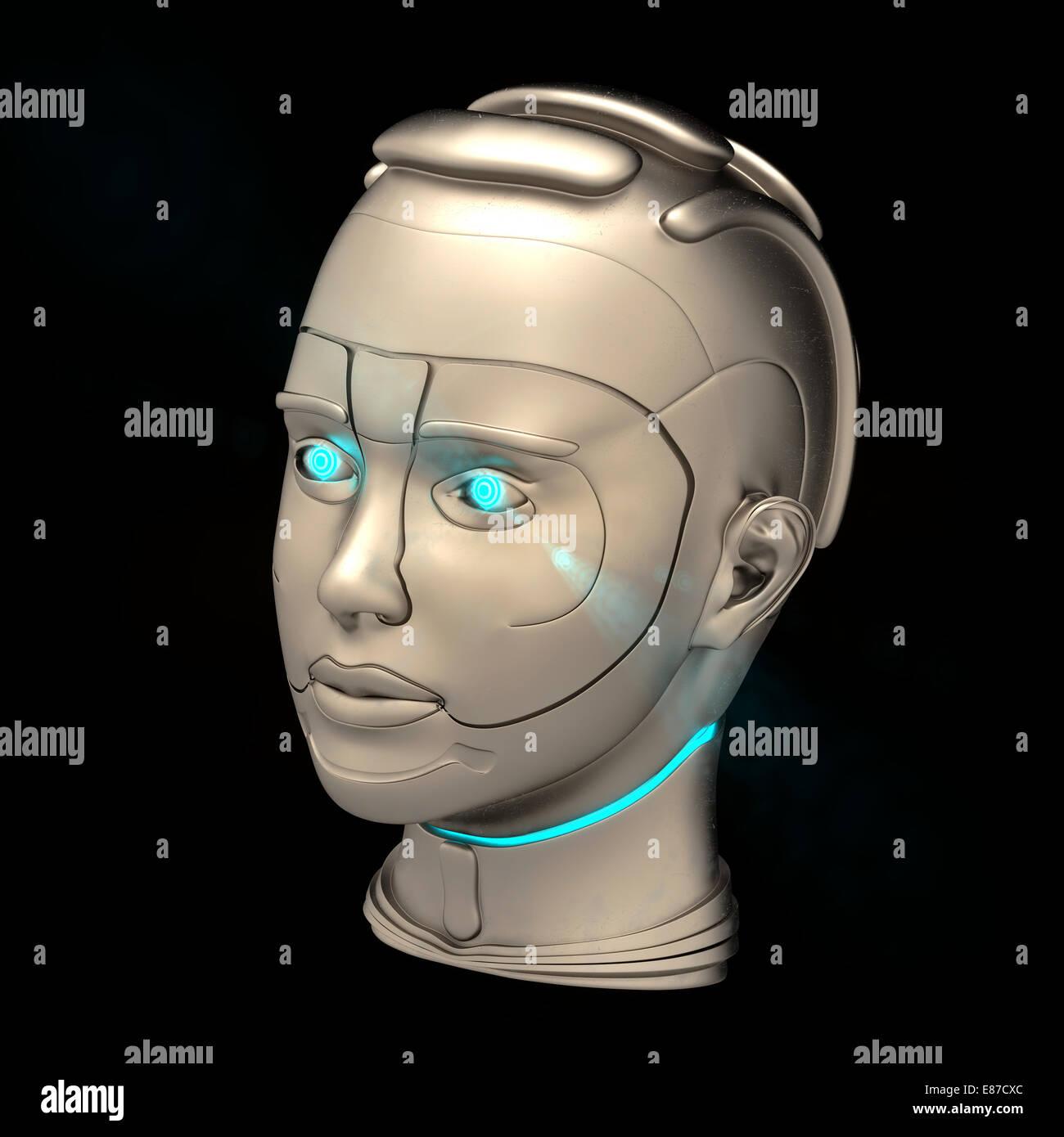 cyborg head - Stock Image