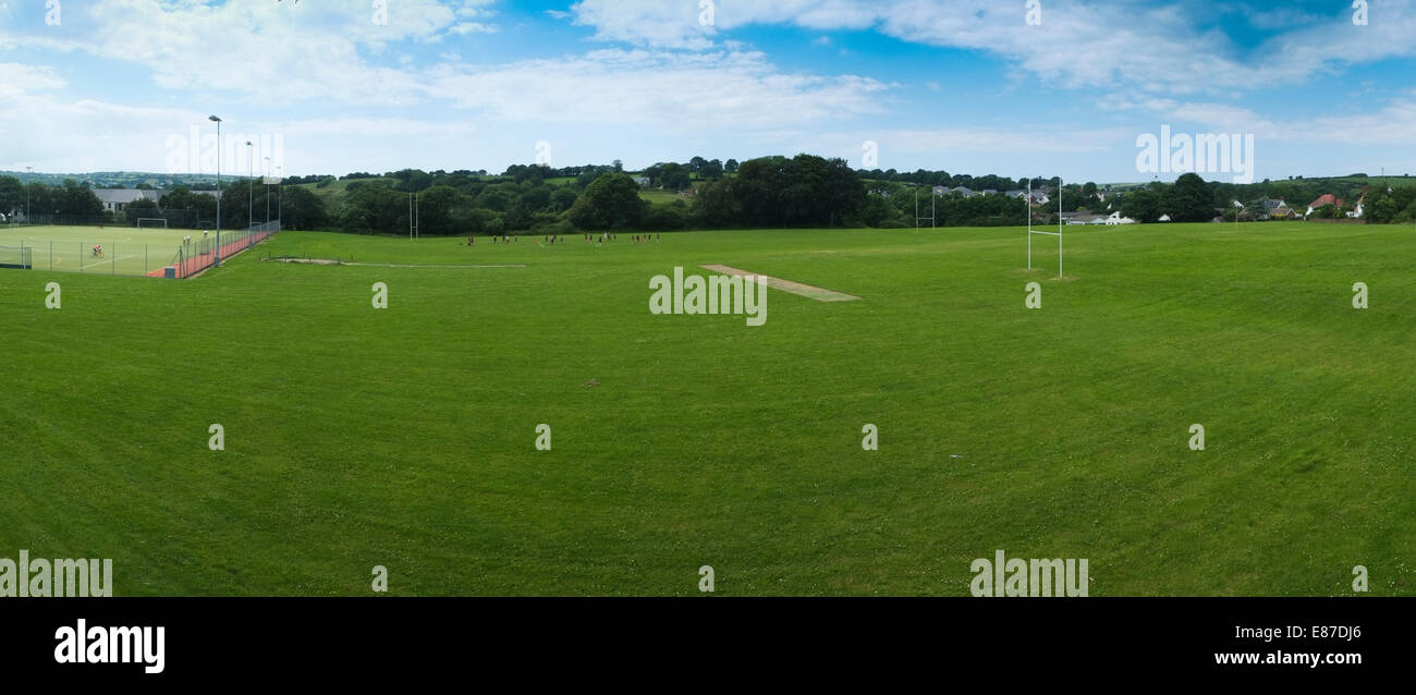 Physical education: A secondary school games sports field pitch ground Wales UK - Stock Image