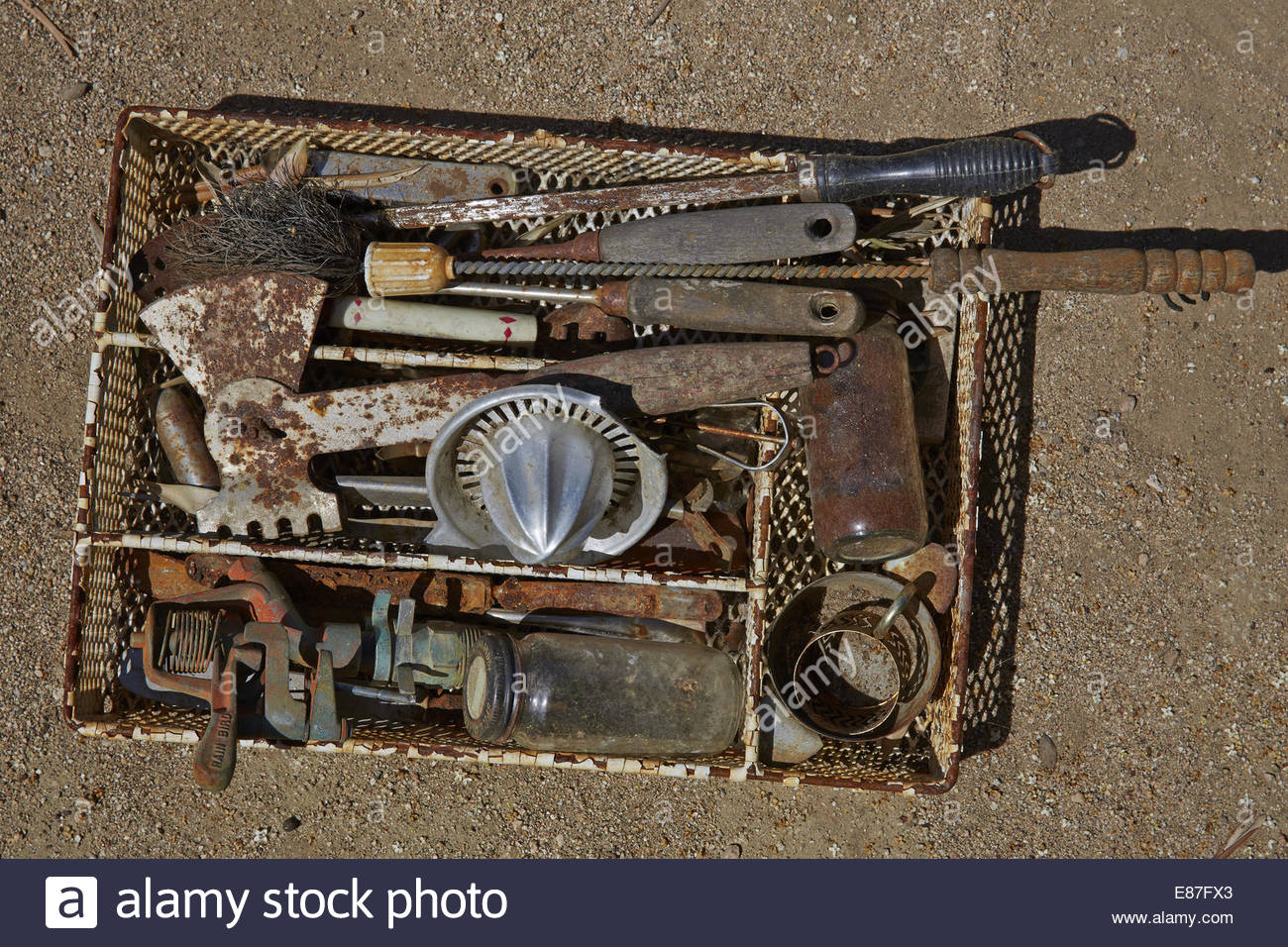 Vintage and rusty group of utensils, kitchenware - Stock Image