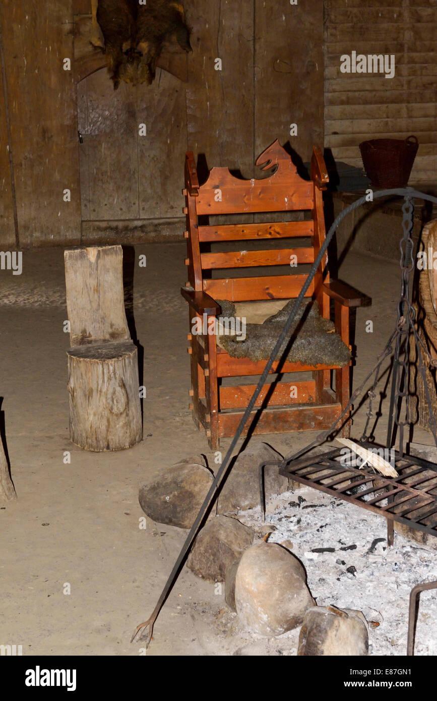Inside the reconstructed longhouse, Trelleborg, Denmark 140816_62320 - Stock Image