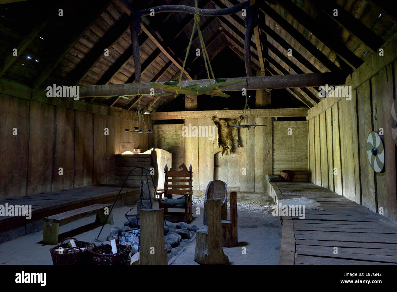 Inside the reconstructed longhouse, Trelleborg, Slagelse, Denmark 140816 62324 Stock Photo