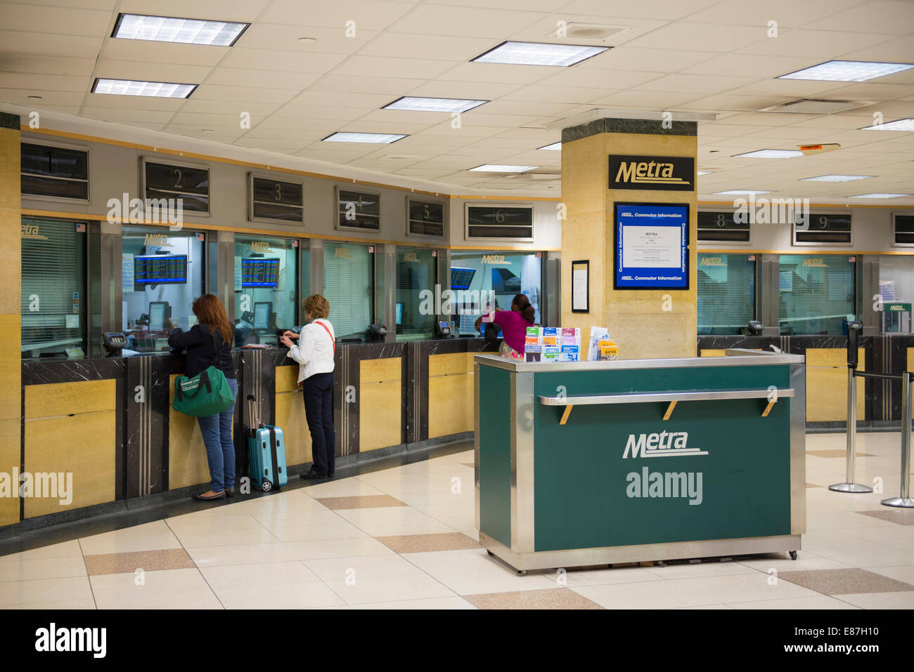 Chicago Union Station Metra, Ticket Counters - Stock Image