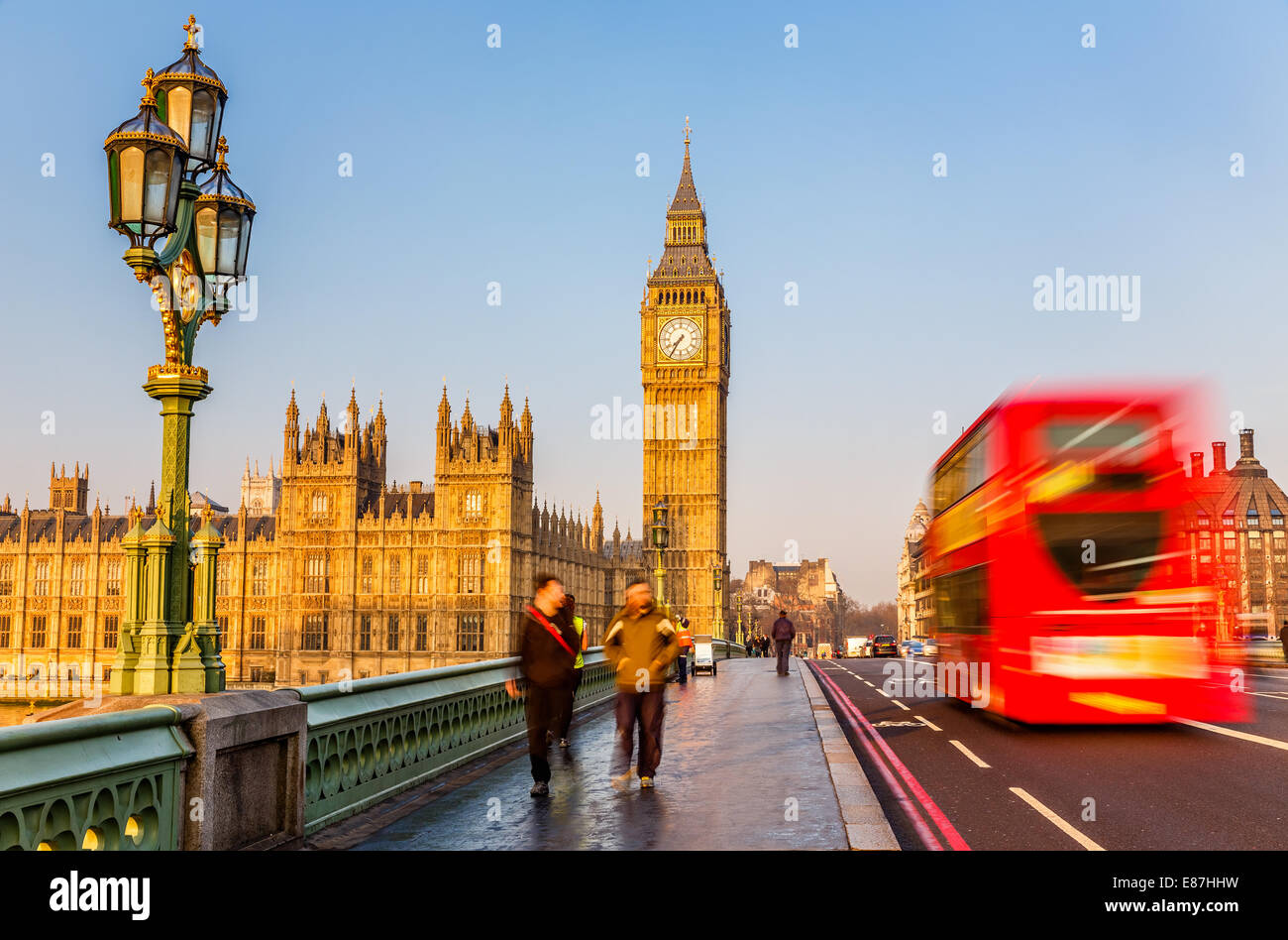 Big Ben and red double-decker bus, London - Stock Image