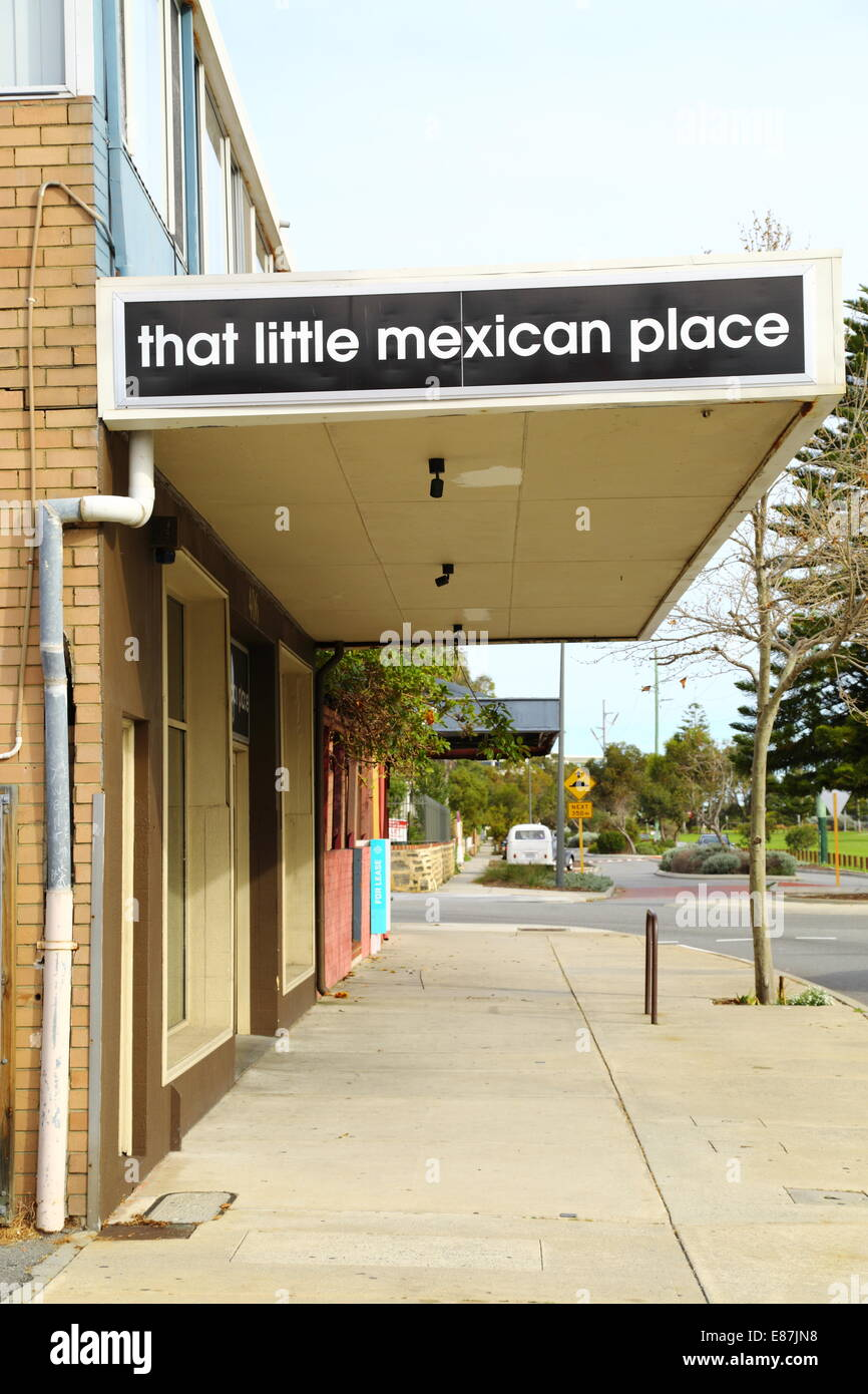 The cleverly named restaurant - That Little Mexican Place - in South Fremantle, Western Australia, Australia. - Stock Image