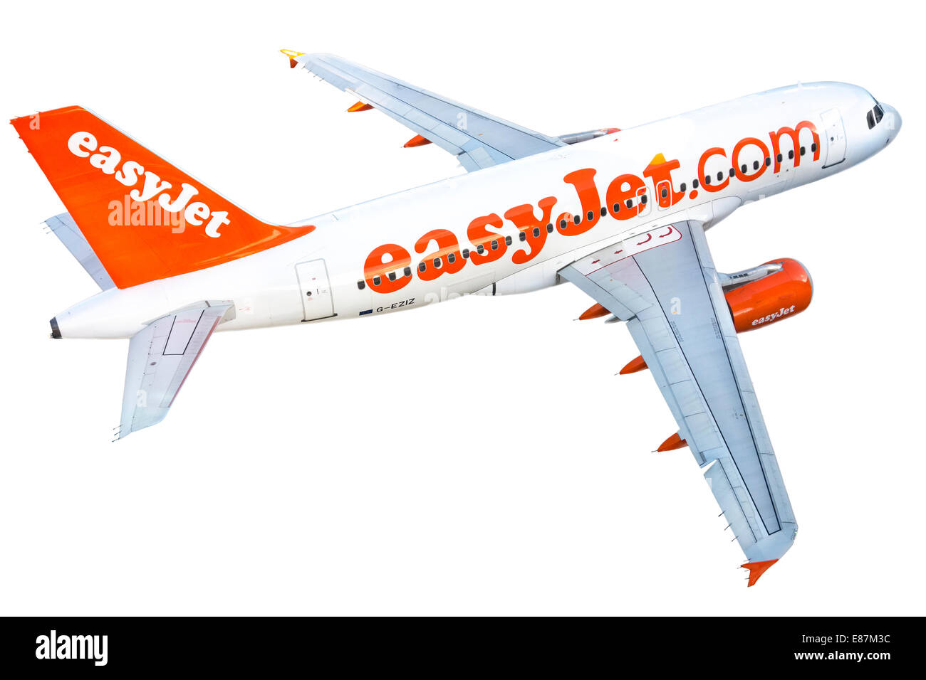 EasyJet plane airplane Airbus A319-111 A 319 111. Cutout cut-out isolated on a white background. Real plane. Not - Stock Image