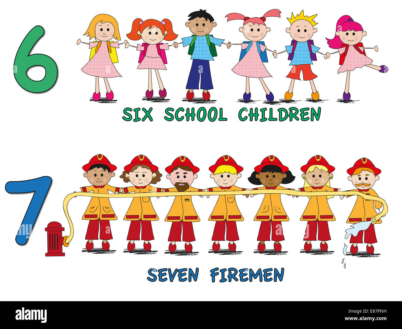 stock 3 number with cartoon children - Stock Image