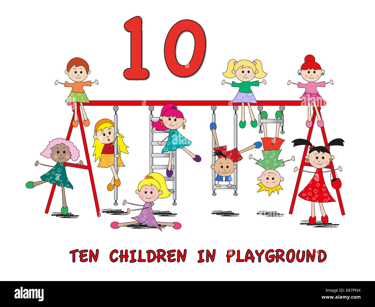stock 5: number with cartoon children - Stock Image