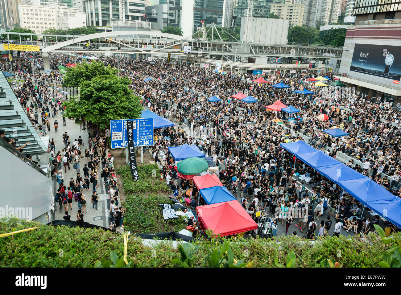 Hong Kong, China. 1st October, 2014.   Students and other supporters of the Occupy Central movement congregating - Stock Image
