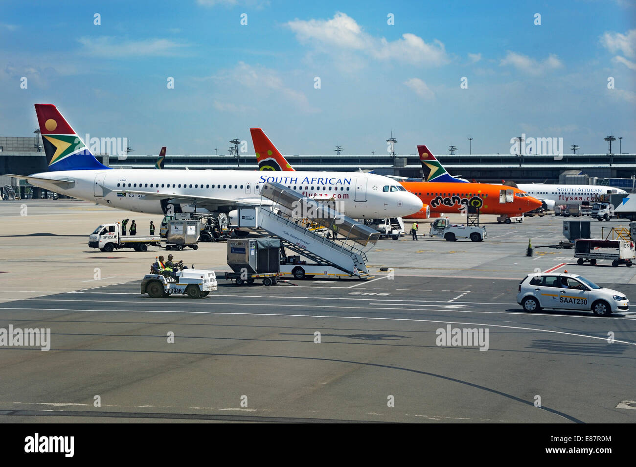 Aircraft of SAA, South African Airways at OR Tambo International Airport, Johannesburg, South Africa - Stock Image