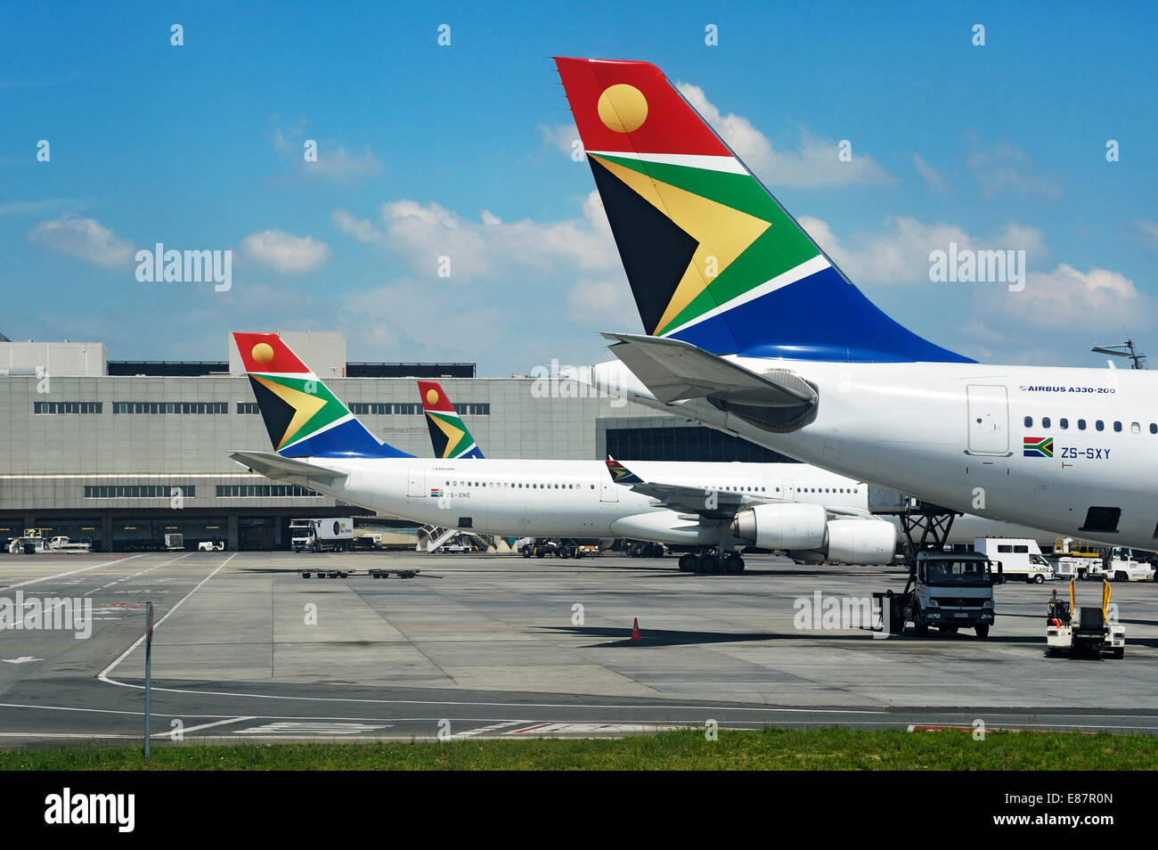 Airbus with the logo of SAA, South African Airways at OR Tambo International Airport, Johannesburg, South Africa - Stock Image