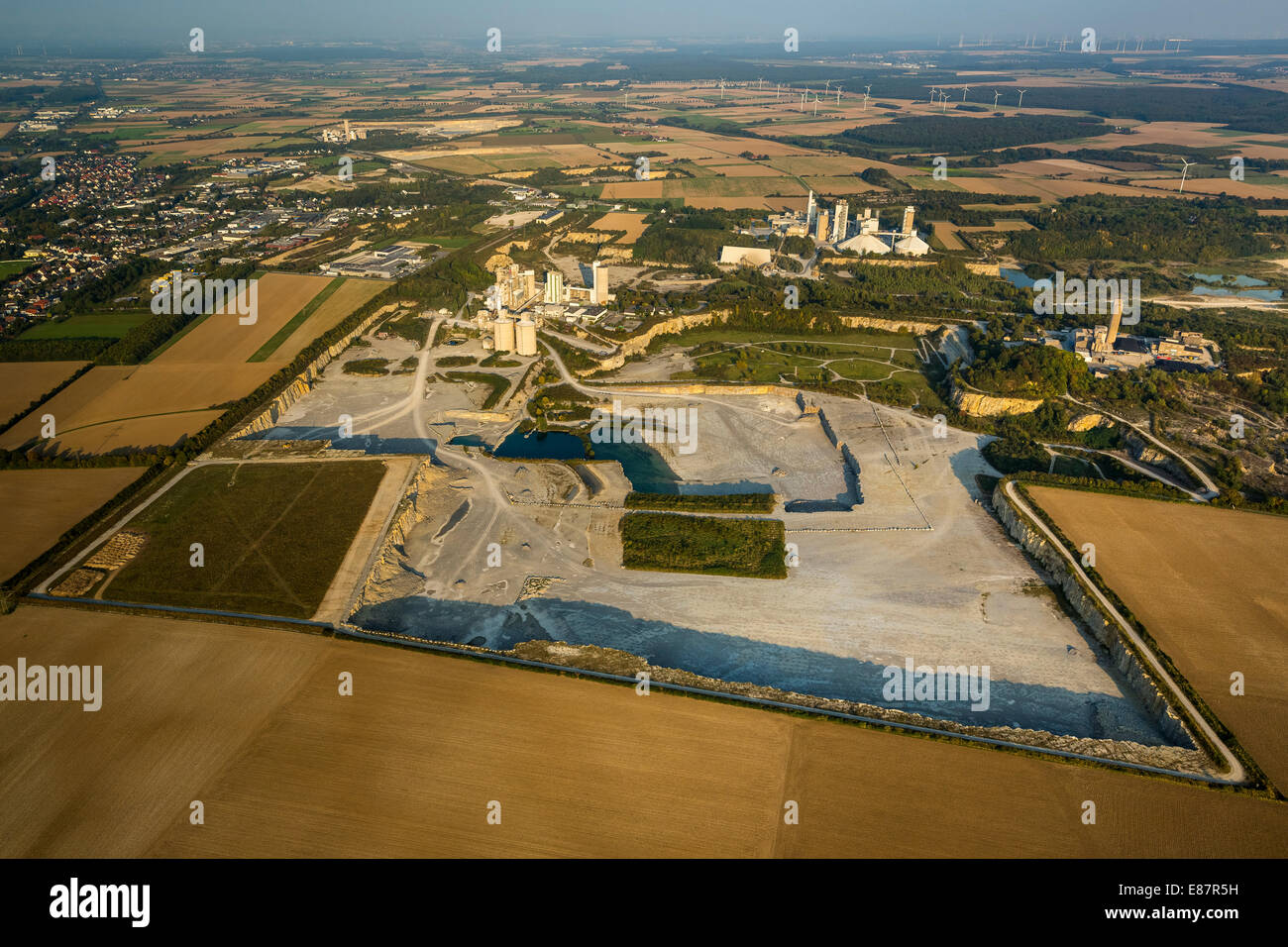 Aerial view, quarries with a health trail, Geseke, North Rhine-Westphalia, Germany - Stock Image