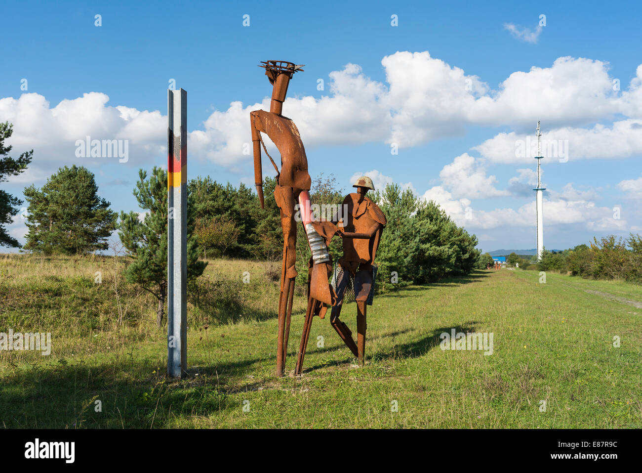 Sculptural group 'Entwürdigung', 'Degradation', Jesus is stripped of his garments, art project - Stock Image