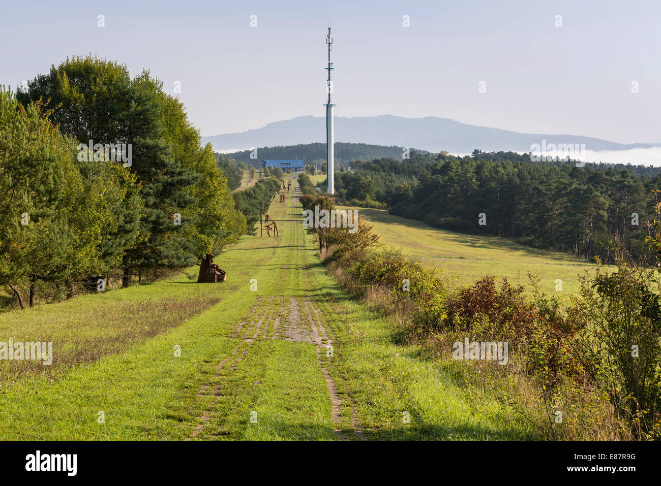 Former inner German border, death zone with border patrol path, art project 'Path of Hope', Point Alpha - Stock Image