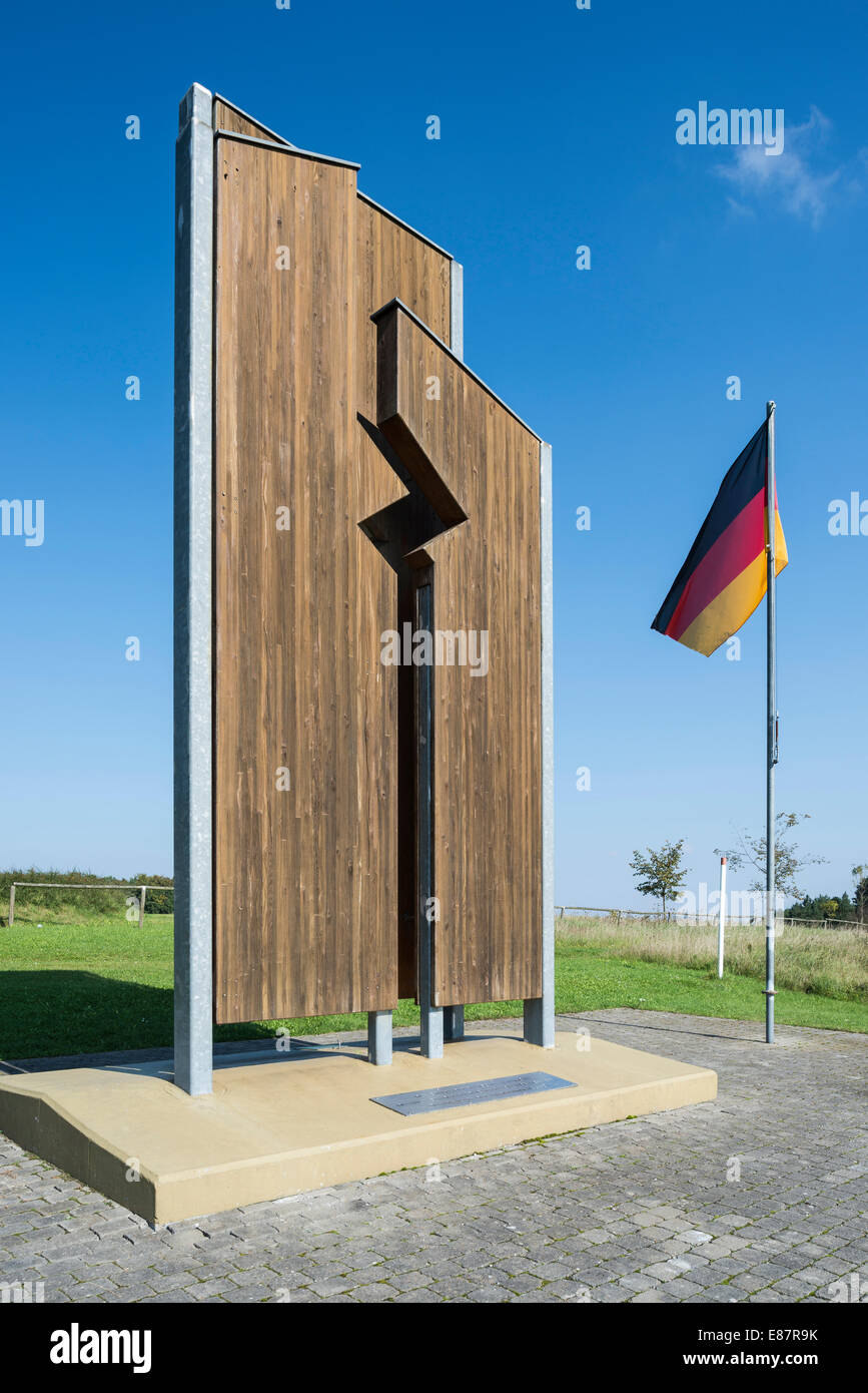 Monument of the German division and reunification, designed by students of the wood sculpting craft section of the - Stock Image