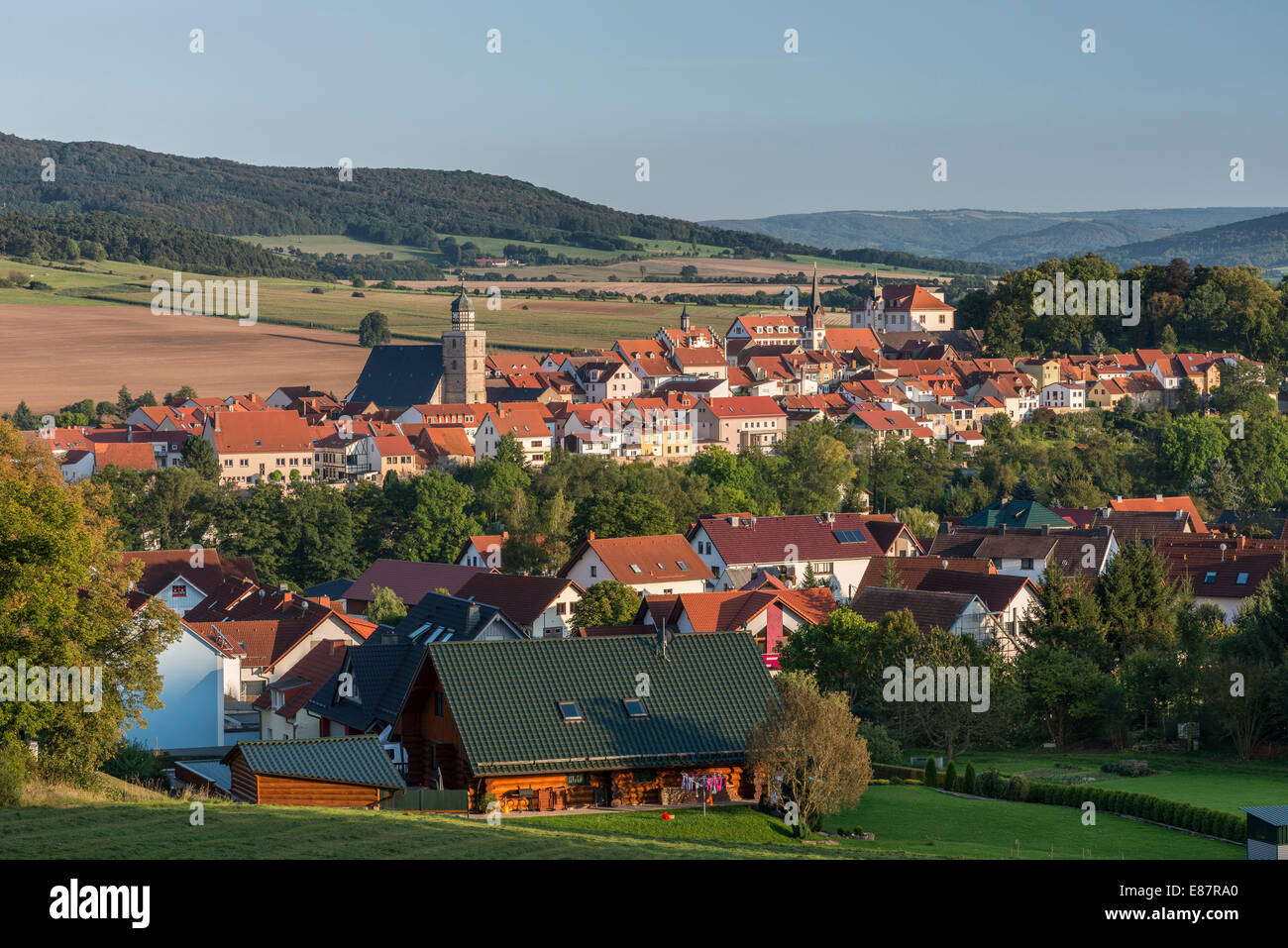 View of the town of Geysa, former restricted area, inner German border, near Gedenktstätte Point Alpha Memorial, - Stock Image
