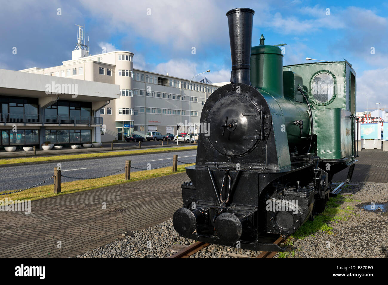Steam locomotive, used during the construction of the harbour in 1913, Reykjavík, Iceland - Stock Image