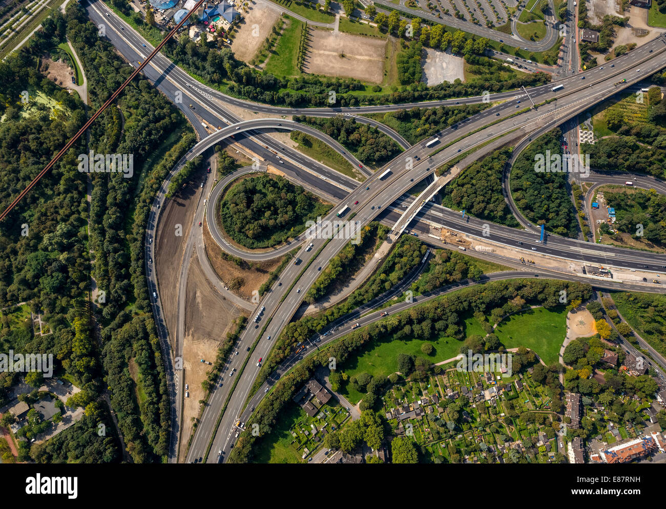 Aerial view, junction of motorways A59 and A42, extension and rebuilding of the A59 motorway, Duisburg, Ruhr Area - Stock Image
