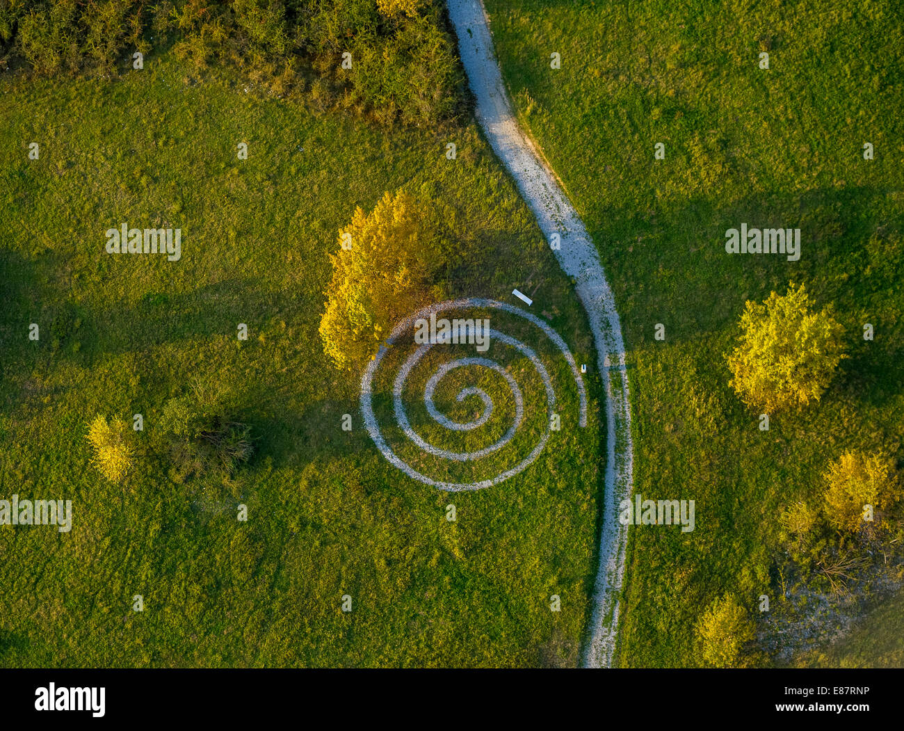 Aerial view, spiralling path, quarries with a health trail, Geseke, North Rhine-Westphalia, Germany - Stock Image