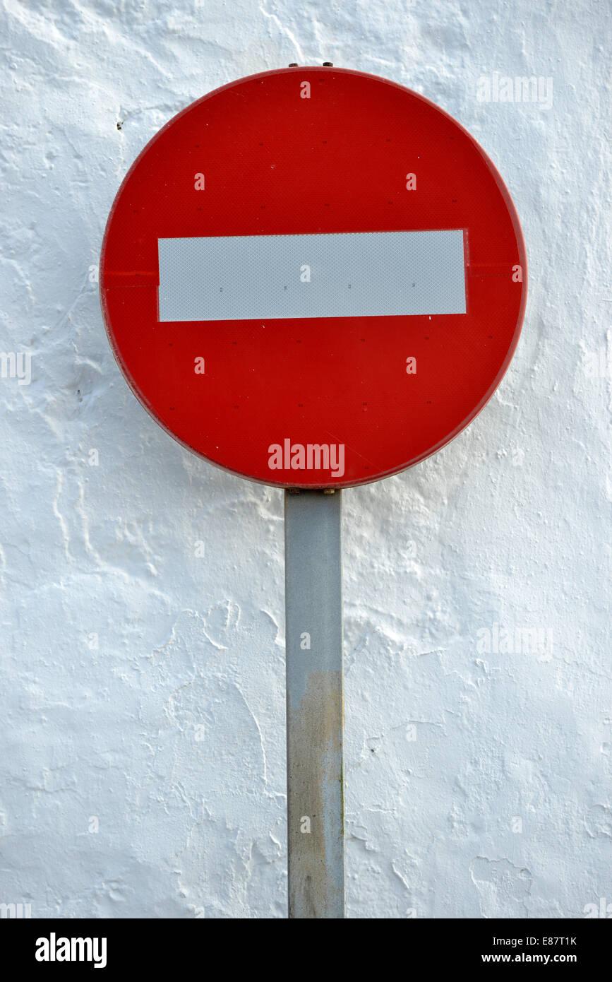 No entry road sign, Lanzarote, Canary Islands, Spain - Stock Image