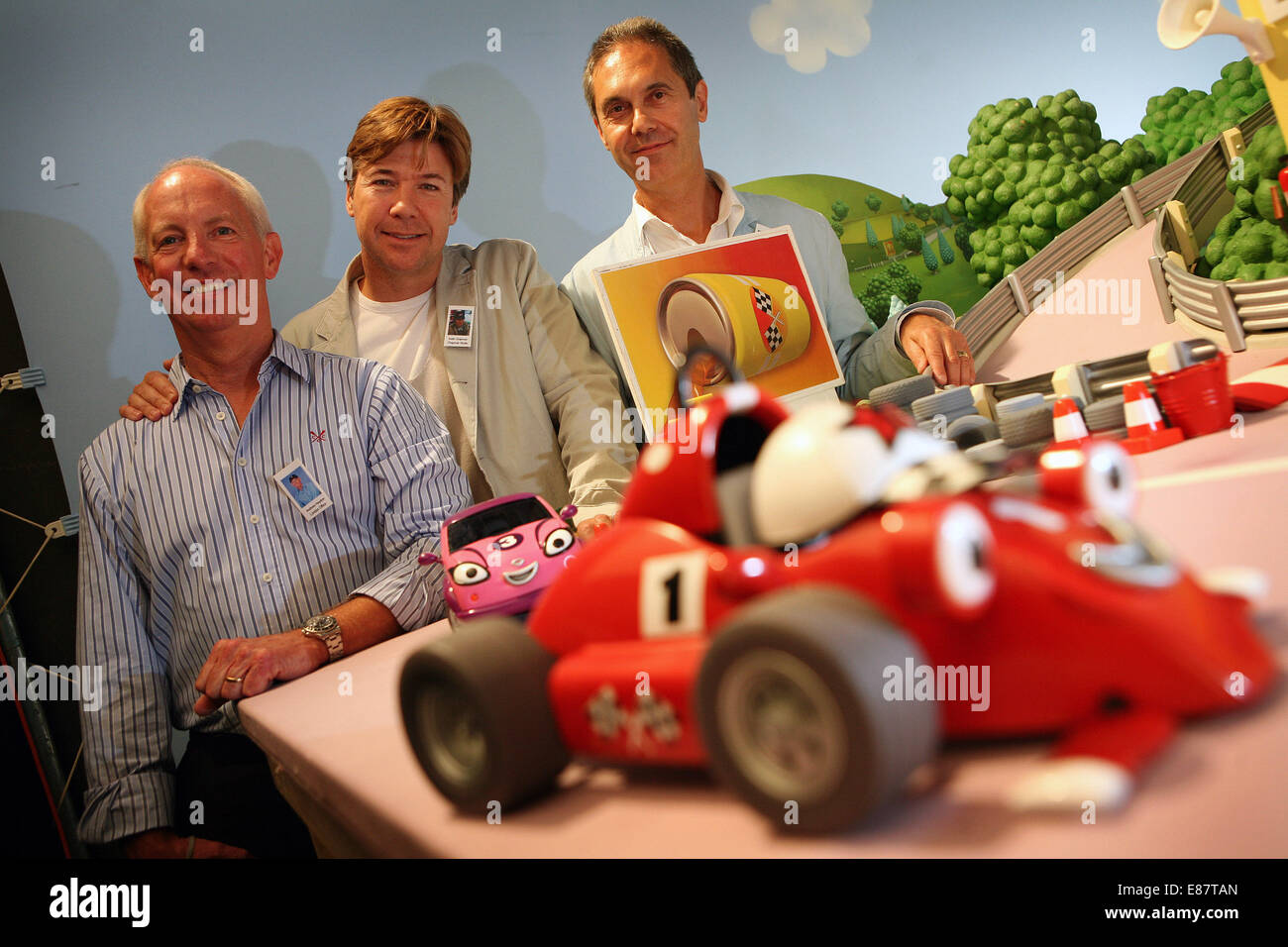 Co-founders of Chapman Entertainment Ltd L-R Andrew Haydon, Keith Chapman and Greg Lynn. - Stock Image