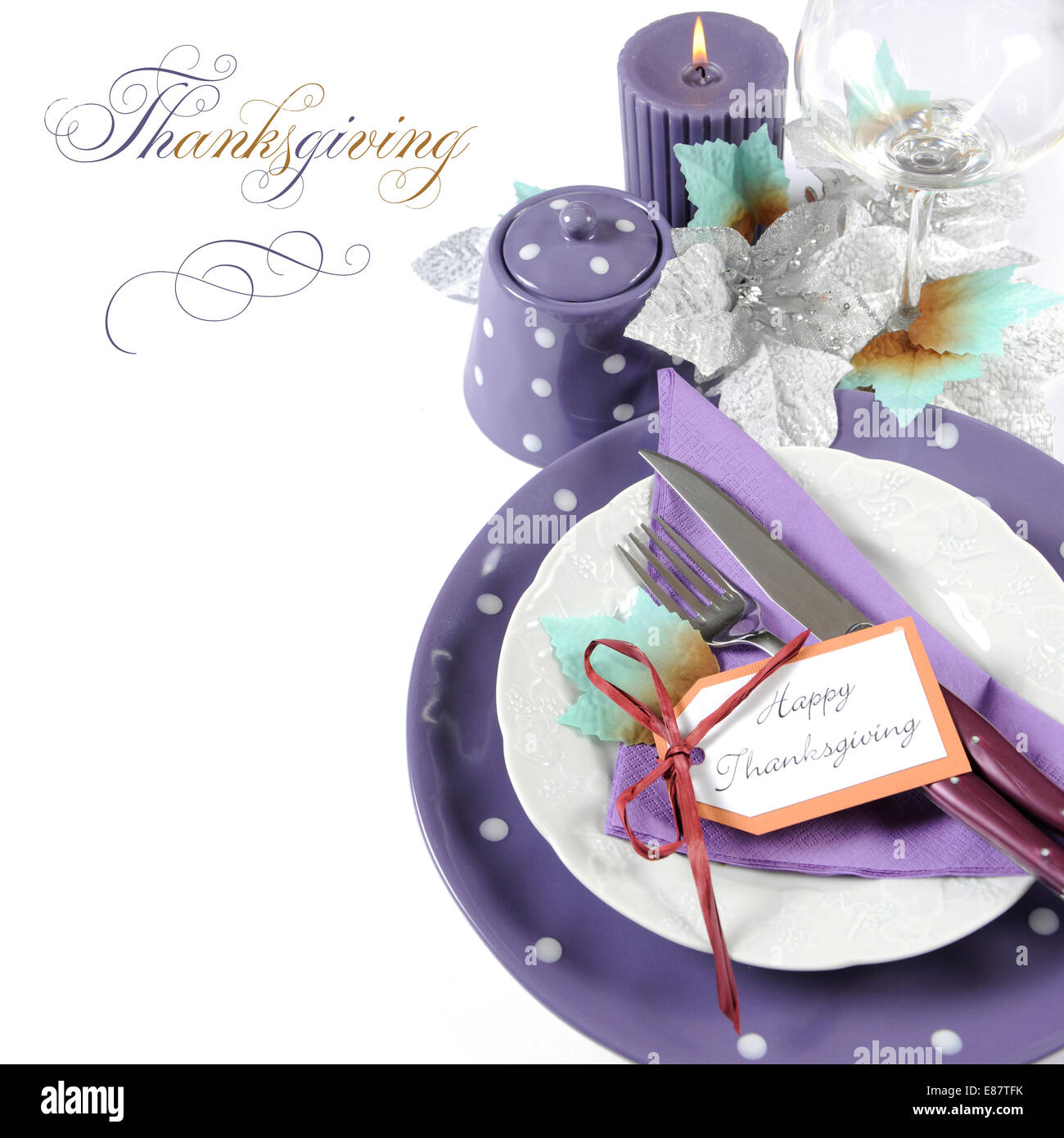 Happy Thanksgiving Fine Dining Table Place Setting In Purple, White And  Aqua Theme Colors, With Copy Space And Sample Text.