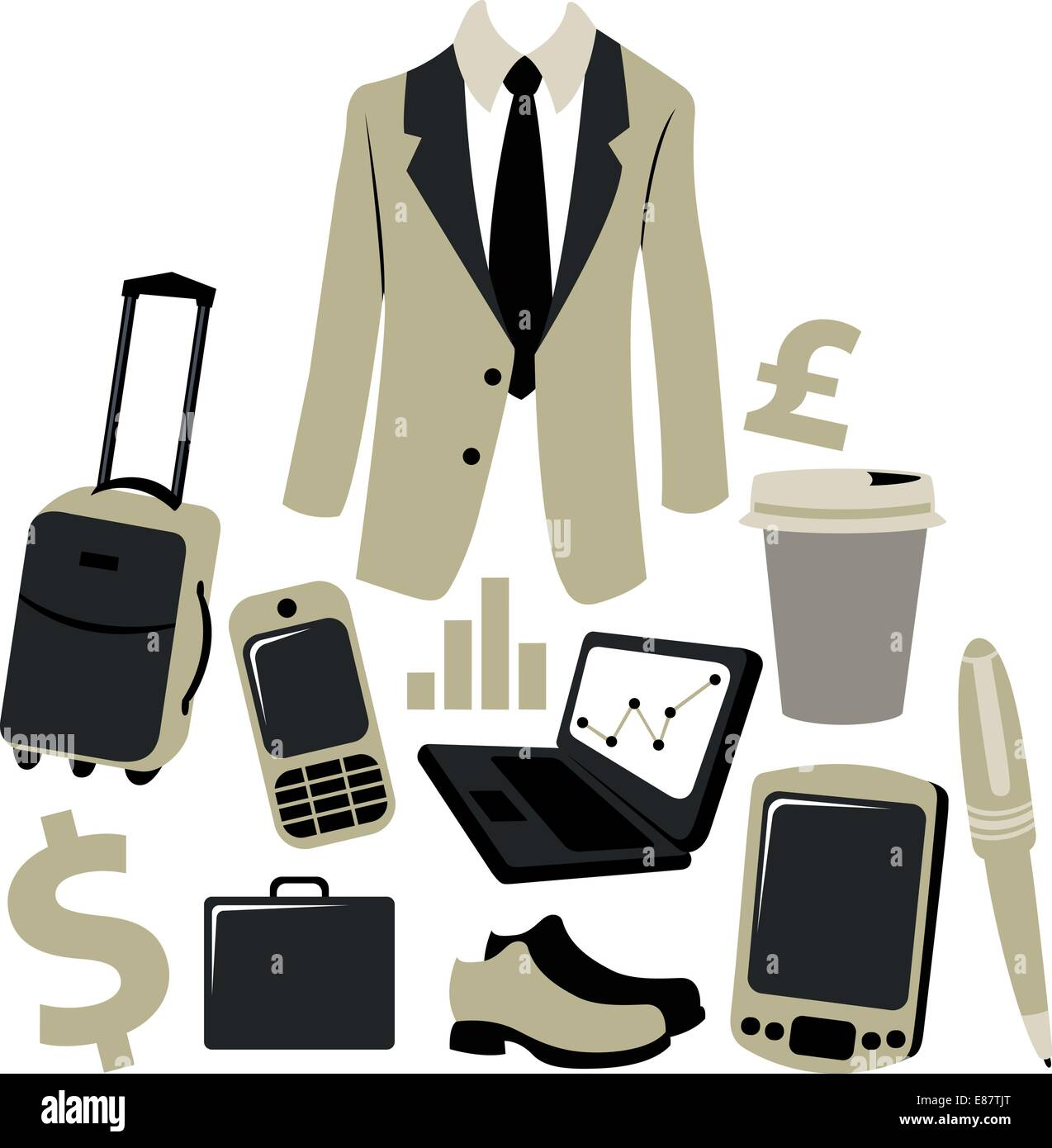Vector illustration of bussiness man accessories set. - Stock Vector