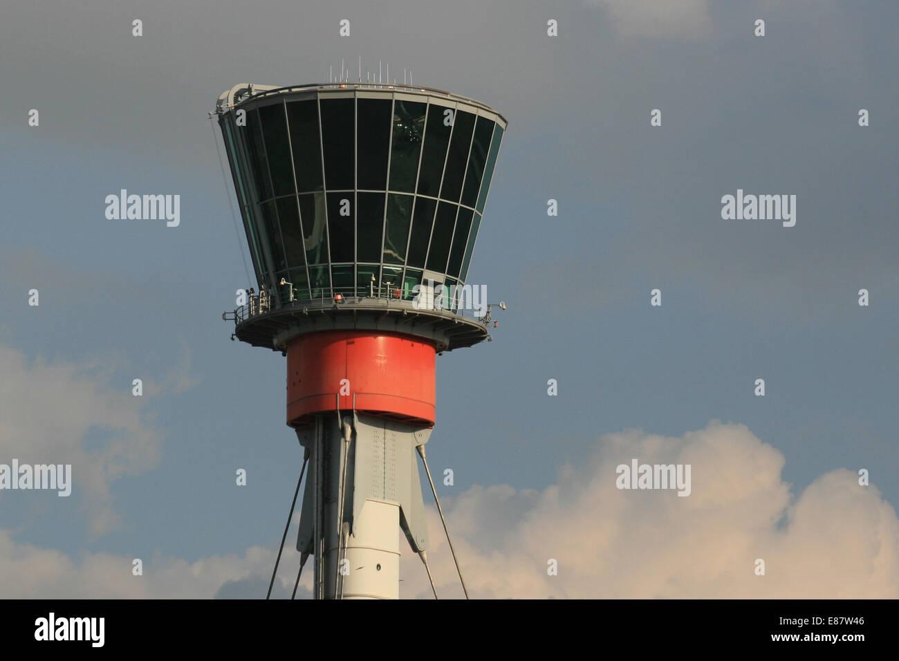 ATC CONTROL TOWER LHR HEATHROW - Stock Image