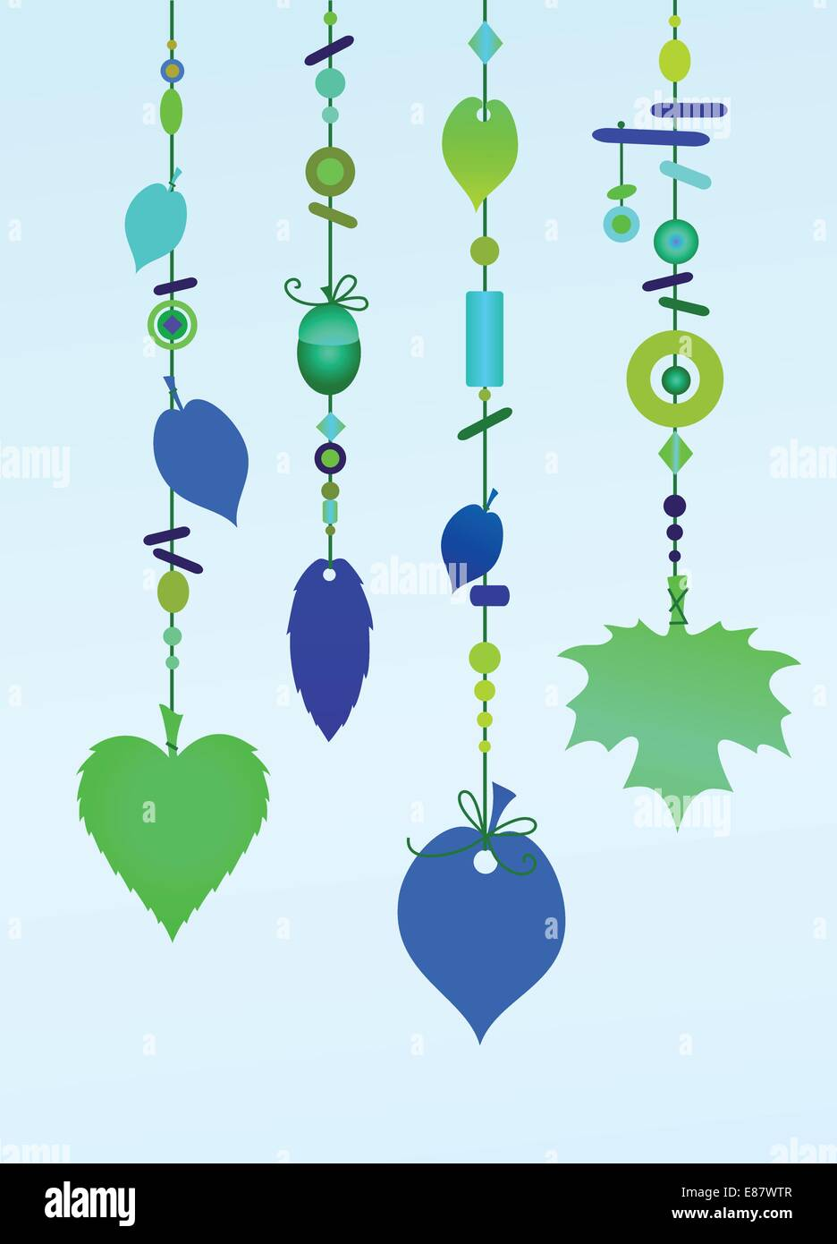 Vector Illustration Of Decorative Wind Chimes With Floral Leaf Shape