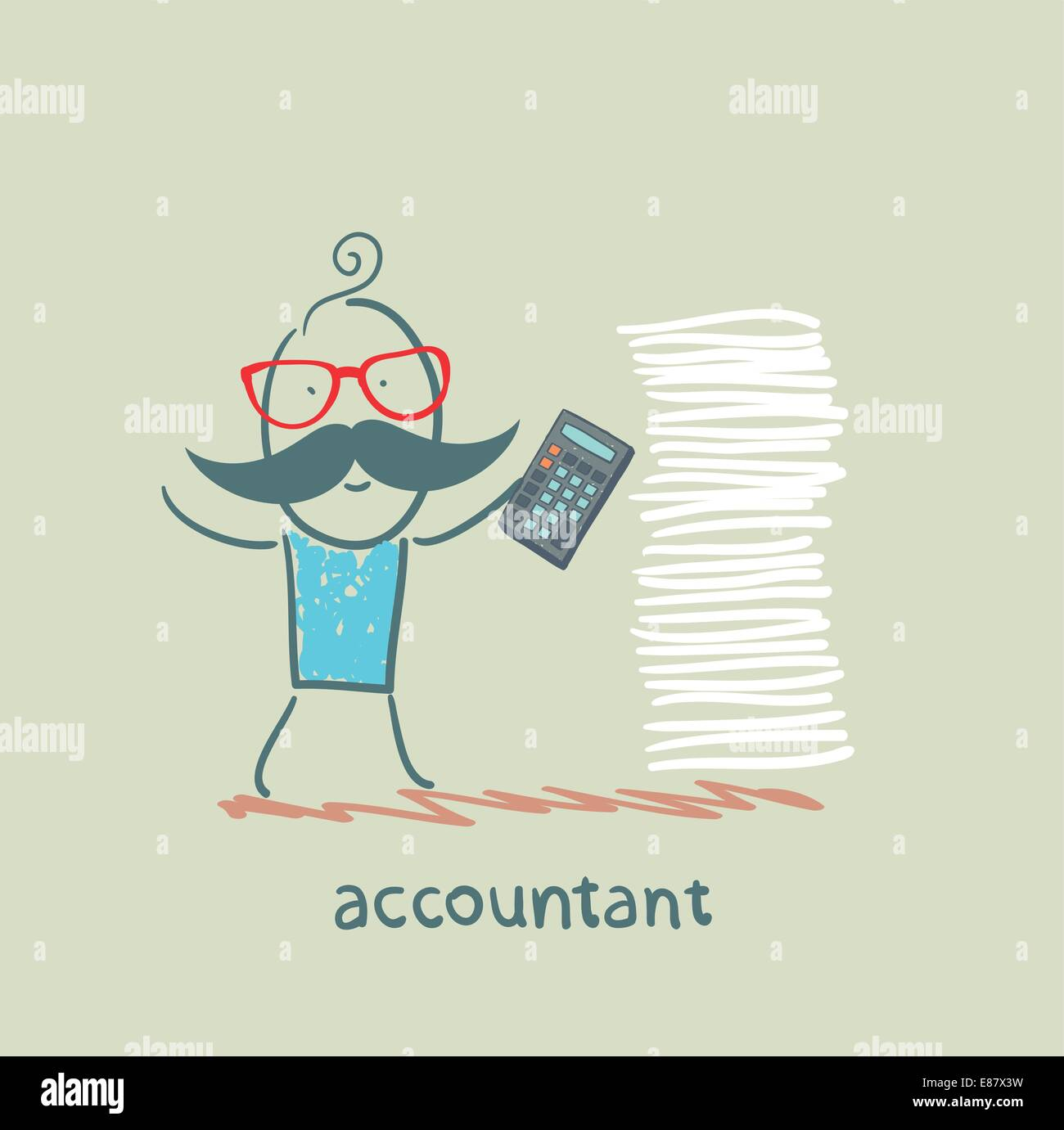 accountant with a calculator and a stack of documents - Stock Vector