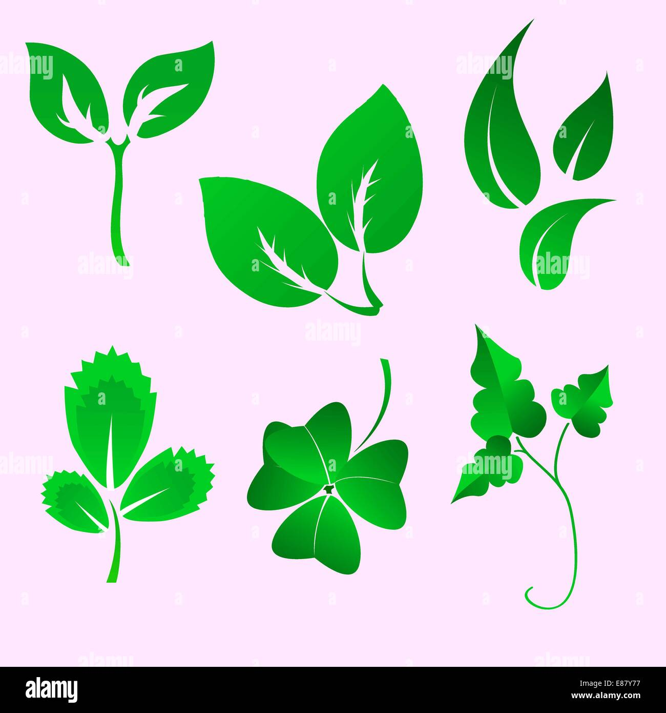Vector illustration set of design leaves silhouettes Stock Vector