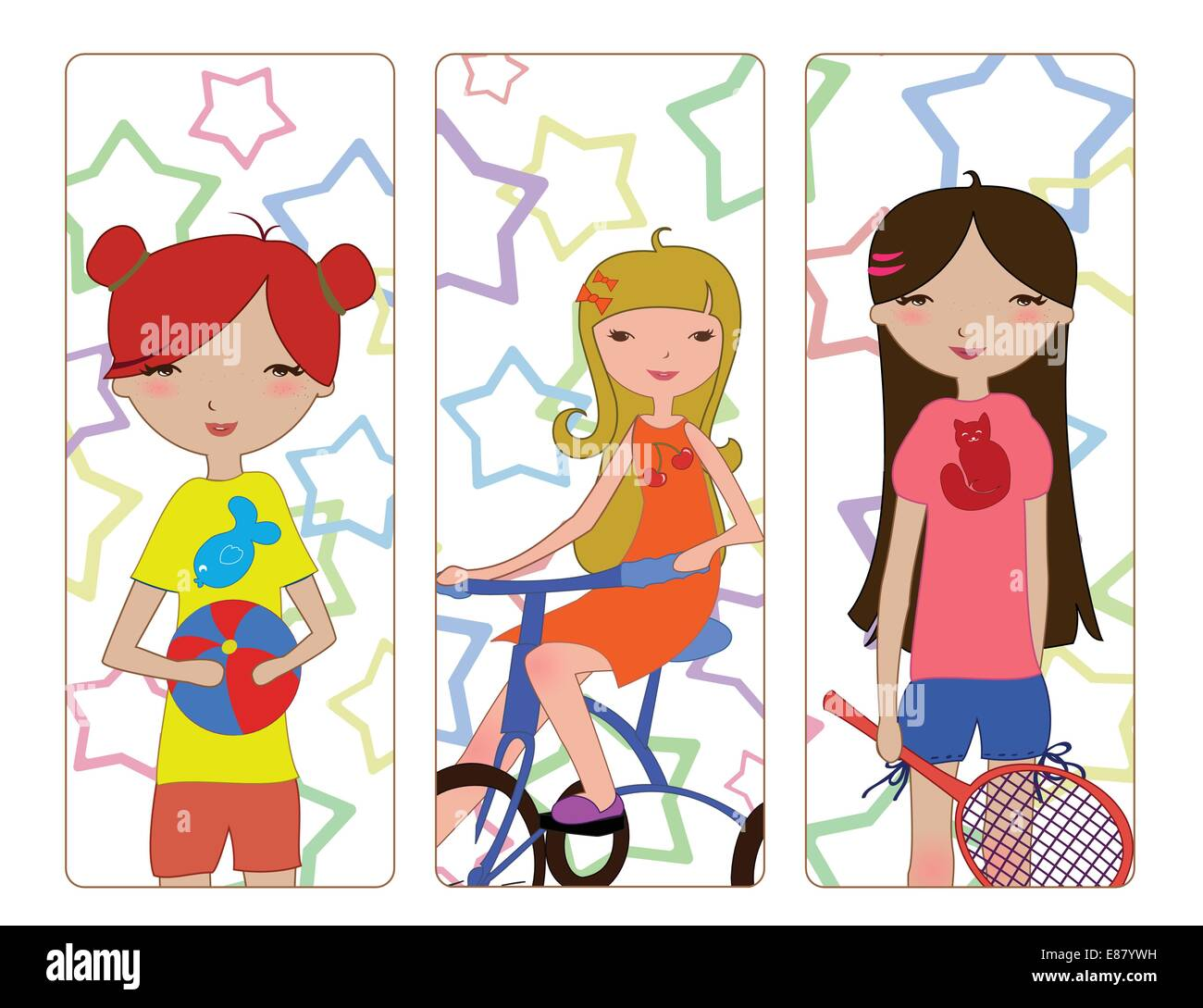 Vector Illustration of the cute little girls during different summer activities    playing the ball, riding the - Stock Image