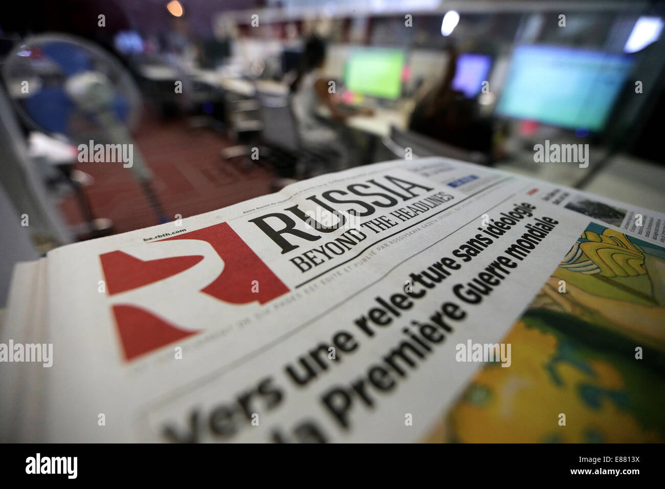 MOSCOW, RUSSIA. OCTOBER 2, 2014. At the offices of the 'Russia Beyond the Headlines' (RBTH) multilingual - Stock Image