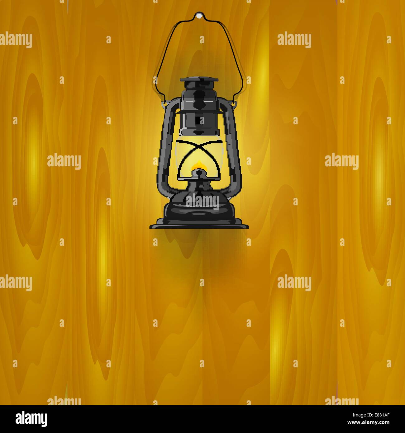 Illustration of an old lamp on a wooden wall - Stock Vector