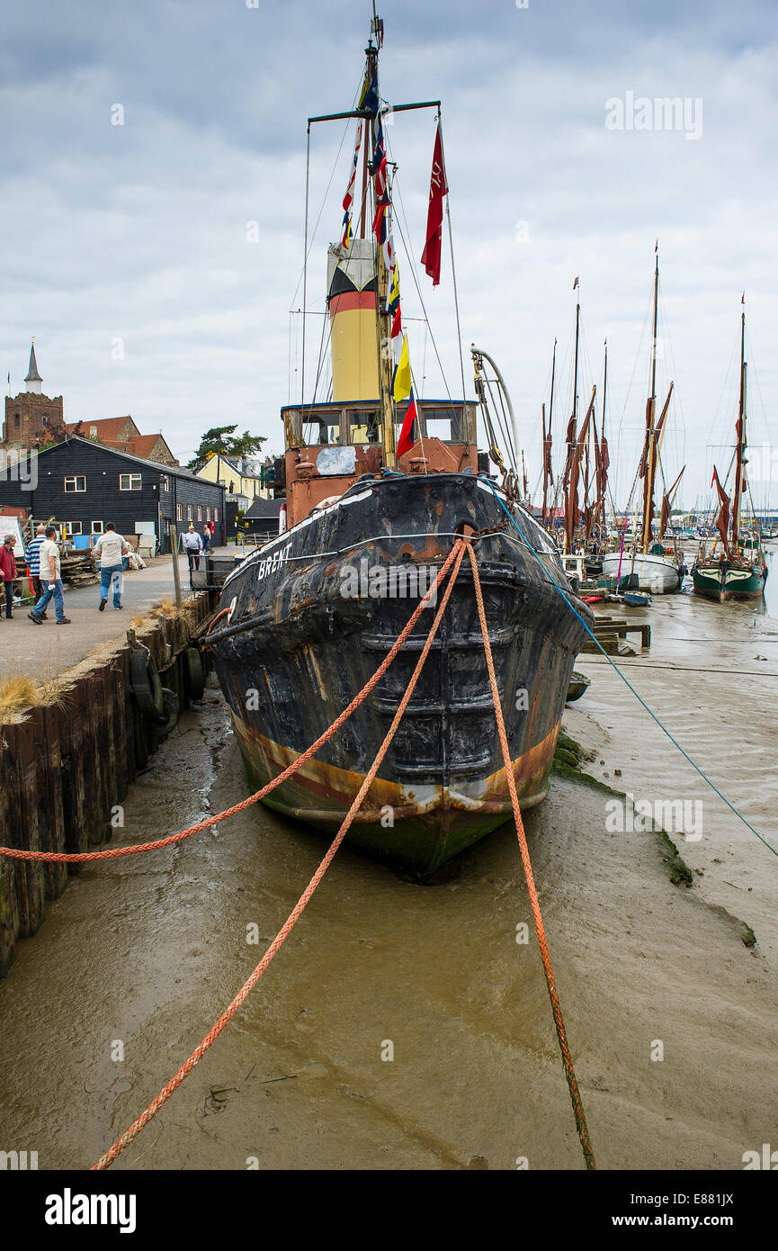 The Steam Tug 'Brent' moored at Hythe Quay in Maldon on the Blackwater River in Essex. - Stock Image