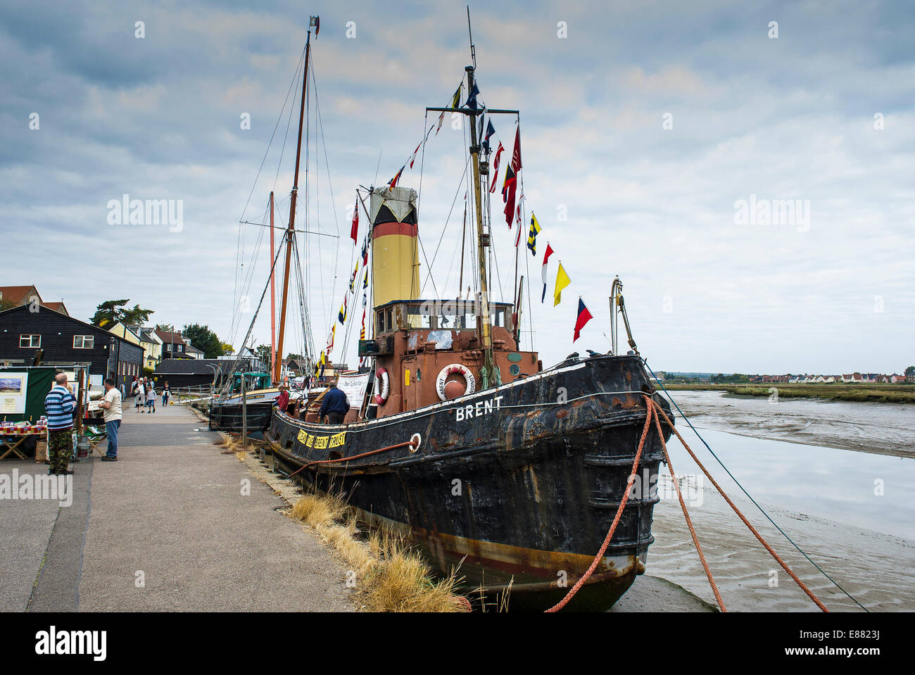 The Steam Tug Brent moored at the Hythe Quay in Maldon on the Blackwater River in Essex. - Stock Image