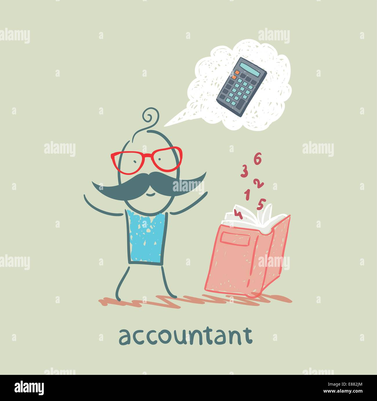 accountant with a book about thinking about numbers calculator - Stock Vector